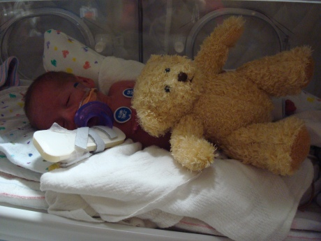 Here's little Max with his bear