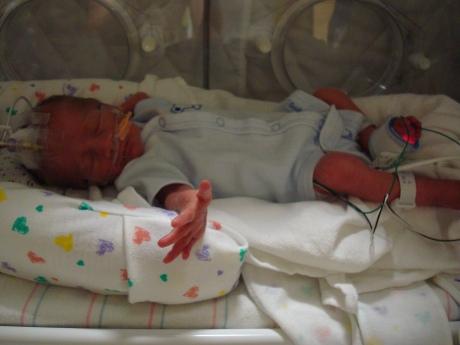 Max in his new preemie onesie!