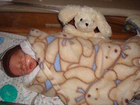 A warm, bundled up Wes - 5 weeks old