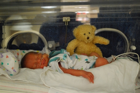 Max and his teddy bear - 3 weeks old