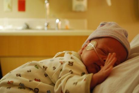 Sleepy Wes in his NICU room - 7:30 p.m.