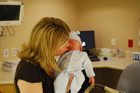 Giving Wes one last kiss in his NICU room