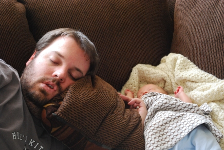 Daddy and Max taking a nappy