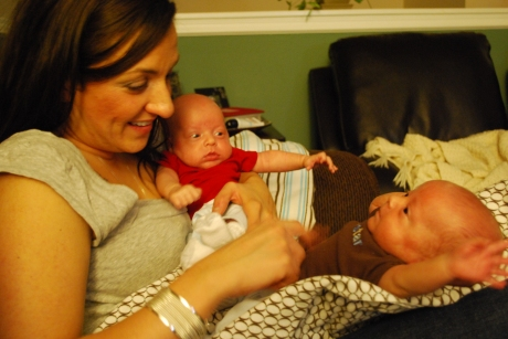 """Wes and Max playing with """"Auntie"""" Tiff"""