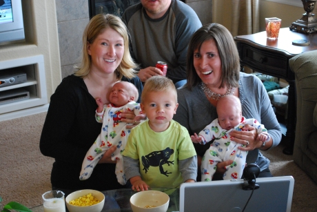 LeAnn, the boys, Asher, and I talking to Aunt Kim and the fam via webcam
