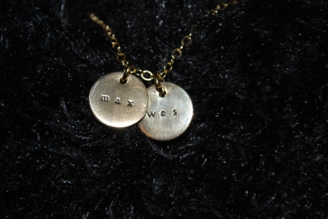 "My Mother's Day gift from Jeff - a ""Max & Wes"" necklace"