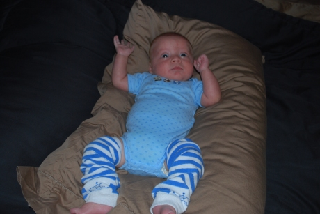 Max modeling the blue and white striped BabyLegs