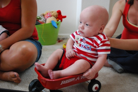 Wes was almost too big for the wagon!!