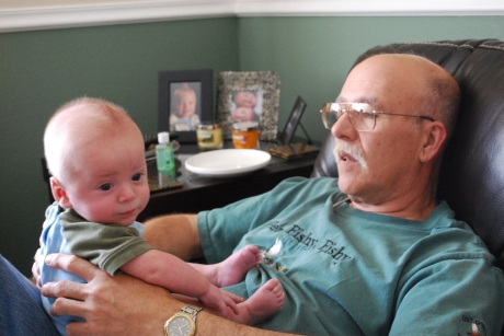 Grampy admiring all of Max's hair