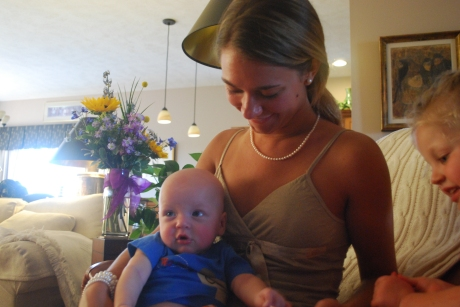 "Jenna (aka ""The Baby Whisperer"") holding Weston"