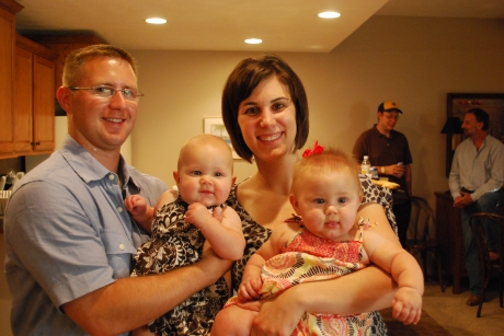 Brett and Molly with Drew and Regan (can you believe those girls are preemies?)