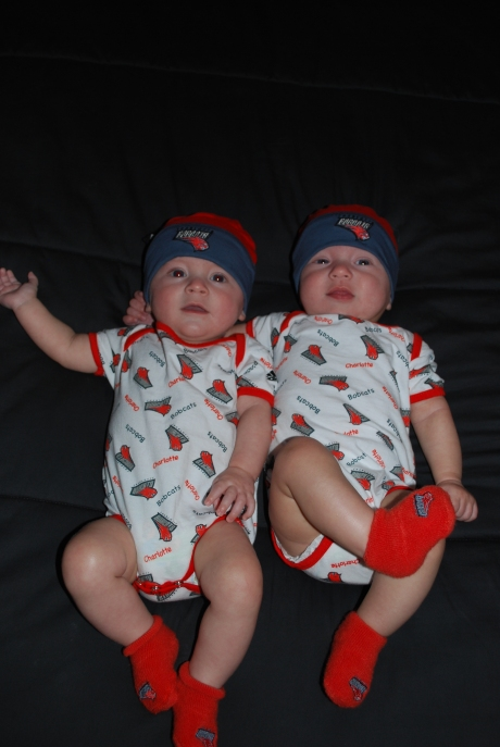A few days before we finally got the boys in their Bobcats gear that uncle Sean got them shortly after they were born